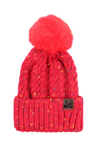 S2-10-2-AHDT2926RD RED KNITTED POM BEANIE/6PCS