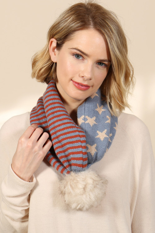 S2-9-1-AHDT2935 USA ACCENT LIGHT PRINT POM DUAL PURPOSE BEANIE SCARF/6PCS