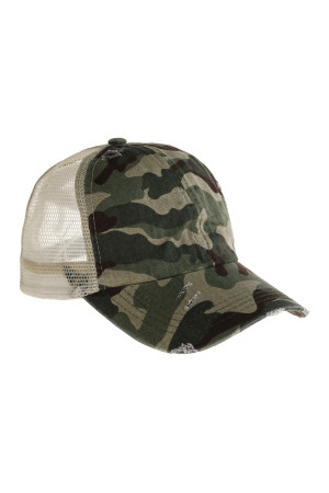 S3-7-4-AHDT2936CAMO CAMOUFLAGE RAGGED FASHION STYLE NET CAP/6PCS
