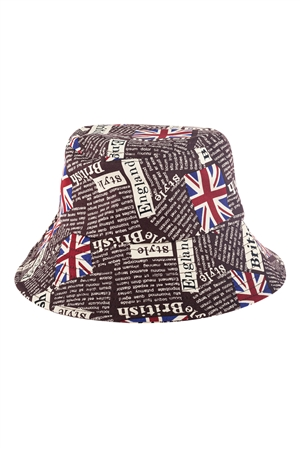 S27-7-5-HDT3235BR-ENGLAND PRINTED BUCKET HAT-BROWN/6PCS