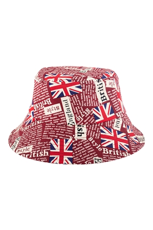 S27-9-5-HDT3235RD-ENGLAND PRINTED BUCKET HAT-RED/6PCS