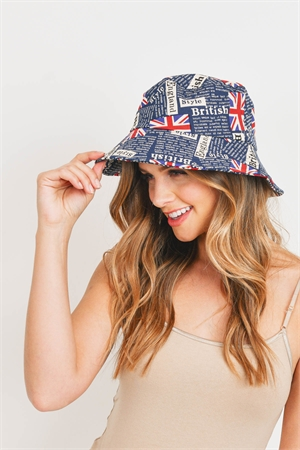 S27-8-5-HDT3235SP-ENGLAND PRINTED BUCKET HAT-SAPPHIRE/6PCS