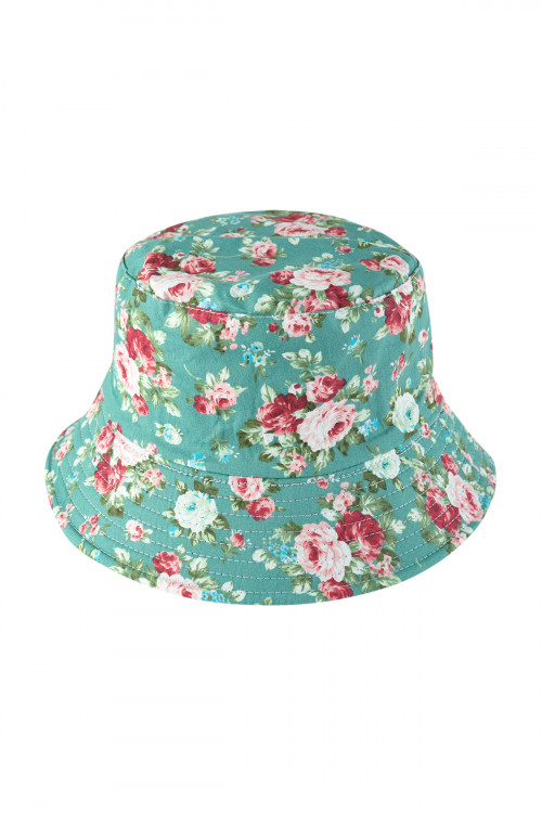 S29-6-2-HDT3312MN-FLORAL PRINT DOUBLE-SIDE-WEAR REVERSIBLE BUCKET HAT-MINT/6PCS