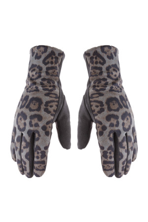 S24-7-2-AHDV2922GY GRAY SMART TOUCH LEOPARD GLOVES/6PCS