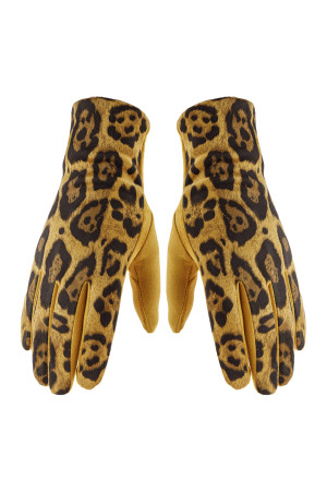 S2-5-3-AHDV2922MU MUSTARD SMART TOUCH LEOPARD GLOVES/6PCS