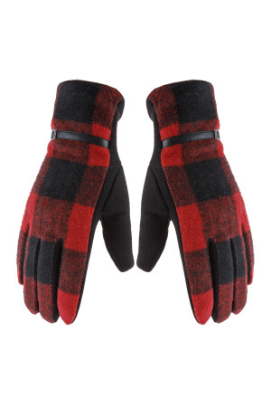 S23-10-2-AHDV2923RD RED BUFFALO PLAID STRAP SMART TOUCH GLOVES/6PCS