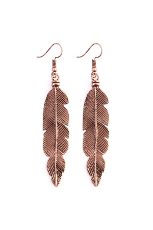 S5-4-4-AHE20738CP CHAMPAGNE  FEATHER ETCHED DROP EARRINGS/6PAIRS