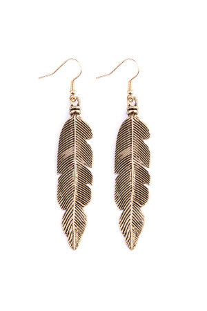 S5-4-4-AHE20738G GOLD FEATHER ETCHED DROP EARRINGS/6PAIRS