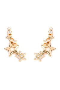 S6-6-2-AHPE1003GD-STARS CRAWLER EARRING - GOLD/12PCS