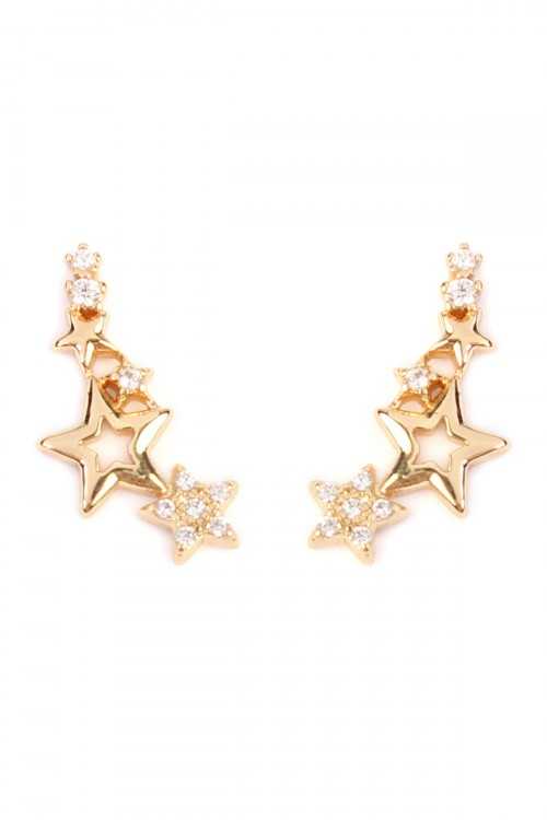 S7-6-4-AHPE1003GD-STARS CRAWLER EARRING - GOLD/12PCS