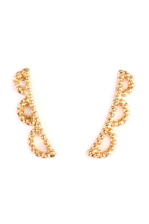 S6-6-2-AHPE1010GD-GEOMETRIC SHAPES CRAWLER EARRING - GOLD/12PCS