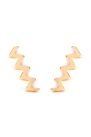 SA4-3-4-AHPE2002GD-ZIGZAG CRAWLER EARRING - GOLD/12PCS