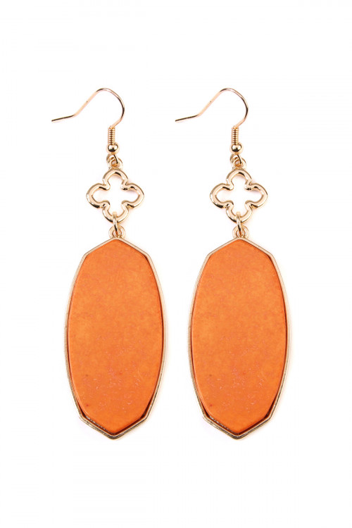 A1-1-4-AIE0291OR ORANGE OVAL STONE DROP EARRING/6PAIRS