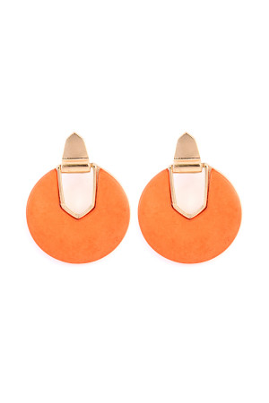 S6-6-3-AIE0294OR ORANGE FACETED STONE DISC EARRING/6PAIRS