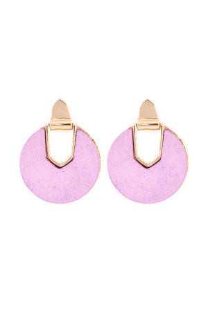 S4-6-3-AIE0294PU PURPLE FACETED STONE DISC EARRING/6PAIRS