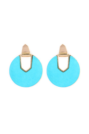S6-6-4-AIE0294TQ TURQUOISE FACETED STONE DISC EARRING/6PAIRS