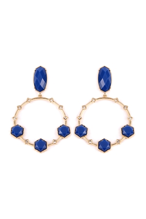 S6-6-2-AIE0368BL BLUE GEOMETRIC STONE POST DROP HOOP EARRINGS/6PAIRS