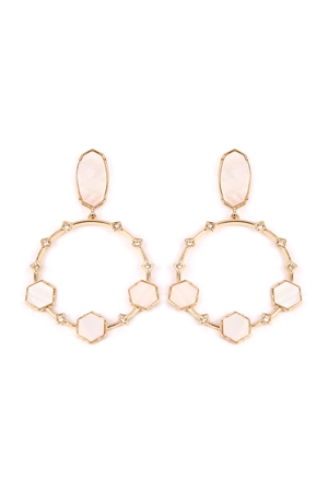 S7-6-4-AIE0368MOP BEIGE GEOMETRIC STONE POST DROP HOOP EARRINGS/6PAIRS