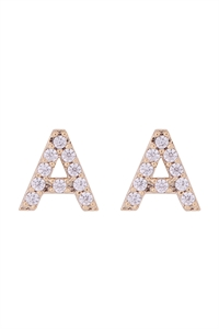 "S1-6-2-IEB270AGD - CUBIC ZIRCONIA ""A"" INITIAL EARRINGS - GOLD/6PCS"