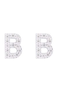 "S1-8-3-IEB270BRH - CUBIC ZIRCONIA ""B"" INITIAL EARRINGS - SILVER/6PCS"