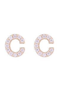 "S1-7-3-IEB270CGD - CUBIC ZIRCONIA ""C"" INITIAL EARRINGS - GOLD/6PCS"