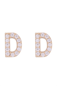 "S1-8-3-IEB270DGD -  CUBIC ZIRCONIA ""D"" INITIAL EARRINGS - GOLD/6PCS"
