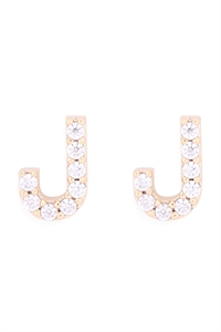 "S1-7-2-IEB270JGD - CUBIC ZIRCONIA ""J"" INITIAL EARRINGS - GOLD/6PCS"