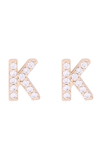 "S1-8-4-IEB270KGD - CUBIC ZIRCONIA ""K"" INITIAL EARRINGS - GOLD/6PCS"