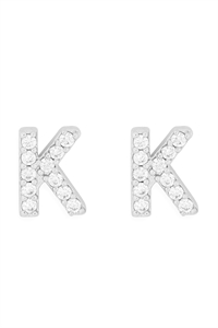 "S1-7-1-IEB270KRH - CUBIC ZIRCONIA ""K"" INITIAL EARRINGS - SILVER/6PCS"