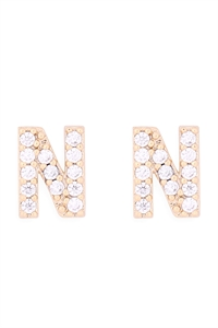 "S1-8-4-IEB270NGD - CUBIC ZIRCONIA ""N"" INITIAL EARRINGS - GOLD/6PCS"