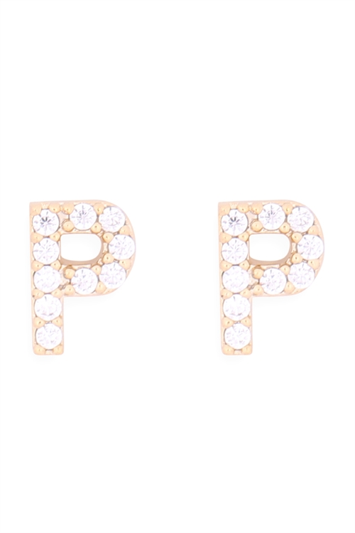 "S1-7-1-IEB270PGD - CUBIC ZIRCONIA ""P"" INITIAL EARRINGS - GOLD/6PCS"