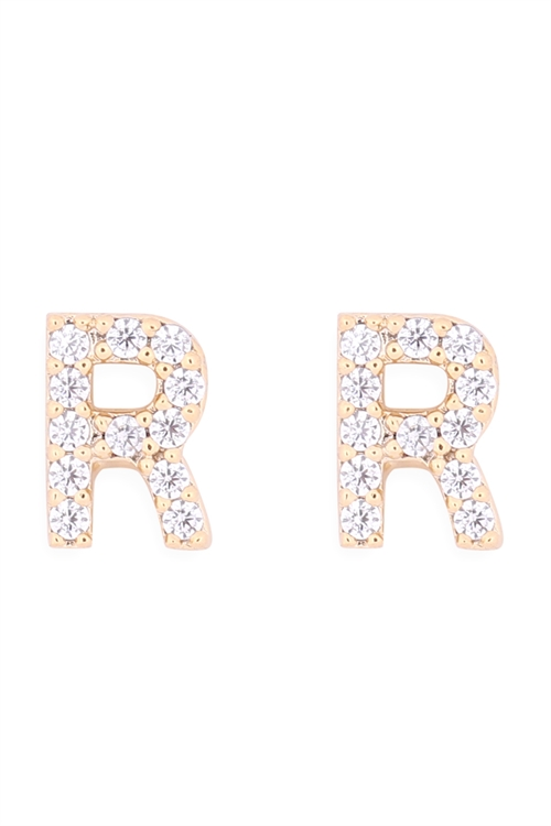 "S1-6-3-IEB270RGD - CUBIC ZIRCONIA ""R"" INITIAL EARRINGS - GOLD/6PCS"