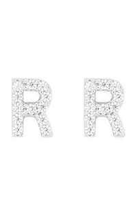 "S1-8-3-IEB270RRH - CUBIC ZIRCONIA ""R"" INITIAL EARRINGS - SILVER/6PCS"