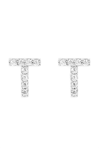 "S1-8-4-IEB270TRH - CUBIC ZIRCONIA ""T"" INITIAL EARRINGS - SILVER6PCS"