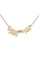 S22-5-3-INA600GD - 2 BEARS NECKLACE - GOLD/6PCS
