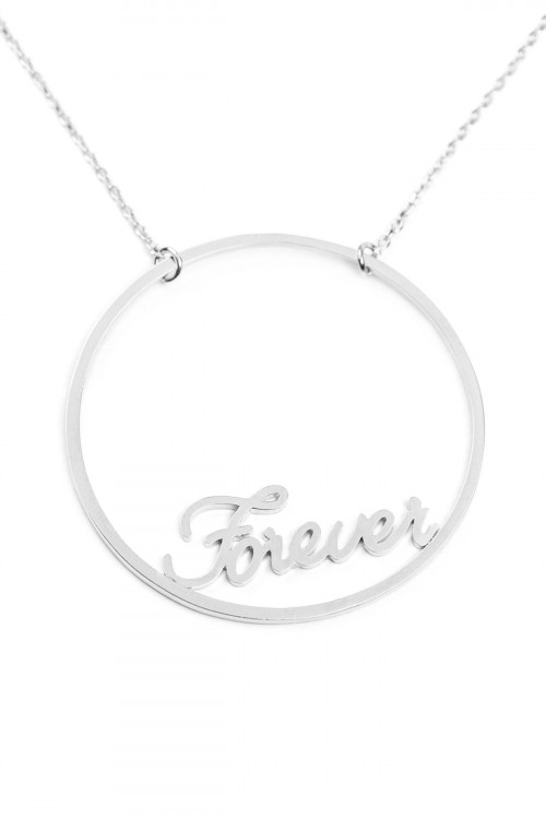 "A1-2-2-AINA708FORH SILVER OPEN CIRCLE ""FOREVER"" MESSAGE NECKLACE/6PCS"