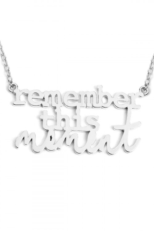 "A2-3-3-AINA709RH SILVER ""REMEMBER THIS MOMENT"" MESSAGE NECKLACE/6PCS"