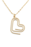 S25-7-5-INA806GD - HEART CLIP PENDANT NECKLACE - GOLD/6PCS