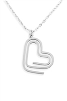 S25-7-5-INA806RH - HEART CLIP PENDANT NECKLACE - SILVER/6PCS