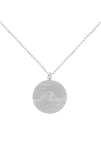 S1-7-2-INA863BS - WAVE ROUND PENDANT NECKLACE-BURNISH SILVER/6PCS
