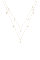 S24-4-1-INA970GD-TWO LAYERED LIGHTNING DAINTY PENDANT NECKLACE-GOLD/6PCS