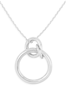 S22-7-2-INB020RH-3 LINKED RING NECKLACE-SILVER/6PCS