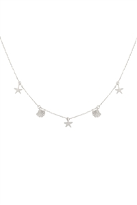 SA4-2-4-INB319RH - SEA LIFE CHARM NECKLACE - SILVER/6PCS