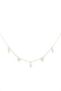 SA4-2-4-INB320GD - FLAMINGO PALM LEAF STATION CHARM NECKLACE-GOLD/6PCS