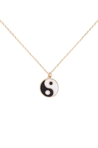 SA4-2-4-INB375GDBNW - YIN YANG EPOXY NECKLACE - GOLD/6PCS