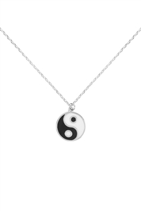 SA4-2-4-INB375RHBNW - YIN YANG EPOXY NECKLACE - SILVER/6PCS