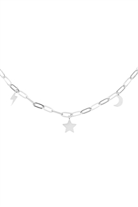 S1-8-2-INB455RH - MOON STAR THUNDER DAINTY BRASS CHAIN NECKLACE - SILVER/6PCS