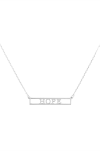 "SA4-2-2-INB468HORH - ""HOPE"" CUT OUT BAR NECKLACE - SILVER/6PCS"