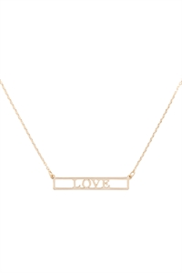 "SA4-2-4-INB468LOGD - ""LOVE"" CUT OUT BAR NECKLACE - GOLD/6PCS"