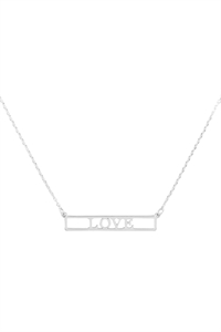 "SA4-2-4-INB468LORH - ""LOVE"" CUT OUT BAR NECKLACE - SILVER/6PCS"